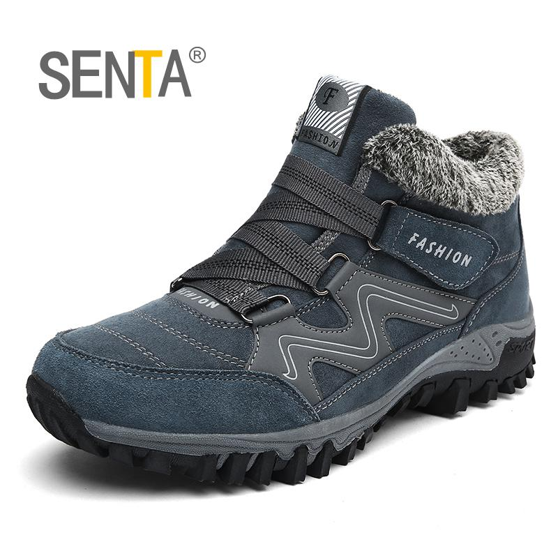SENTA New Hot Style Plush Men Hiking Shoes Women Winter Outdoor Walking Jogging Shoes Mountain Sport Boots Climbing Sneakers rax women s hiking shoes waterproof hiking boots men outdoor breathable walking sneakers winter boots women mountain climbing