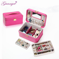 Hot selling large Portable Manufacturers high grade Corner rounded leather jewelry box , carrying case,women girls gift