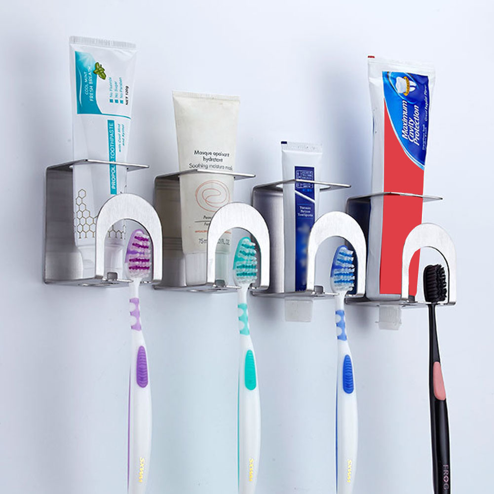 Toothpaste Multi-Purpose Accessories Holes Self Adhesive Bathroom Toothbrush Holder Wall Mounted Mug Stainless Steel image