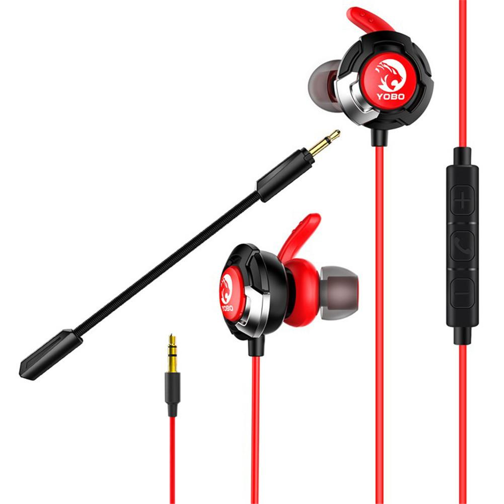 Wired Double Microphones Professional Gamer Headphone 3.5mm Plug Earbuds In-ear Earphone Headset for Mobile Phones Cell phone