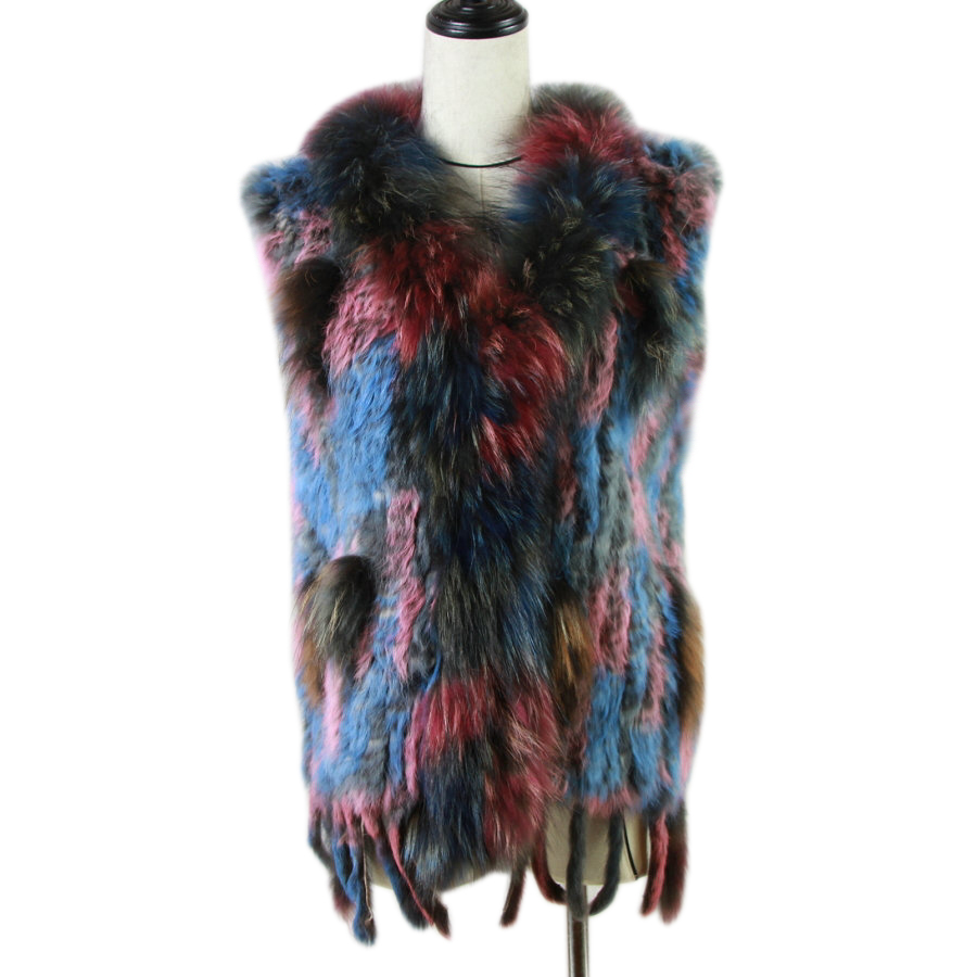 New Real ladies Genuine Knitted Rabbit Fur Vest With Raccoon Fur Trimming Waistcoat Winter Fur Jacket