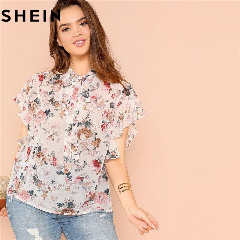 SHEIN Bohemian Floral Print Ruffle Sleeve Tied Neck Plus Size Women Blouse Summer Fashion Flower Flutter Boho Thin Blouses