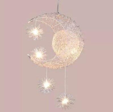 ФОТО Kid's Room Lighting Modern Fashion Moon Pendant Lights Child Bedroom Lamps Aluminum Lighting Fixture for Home Decoration