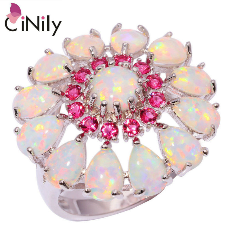 CiNily Created White Fire Opal Kunzite Silver Plated Ring Wholesale Retail Big Flower for Women Jewelry Ring Size 6-10 OJ6184