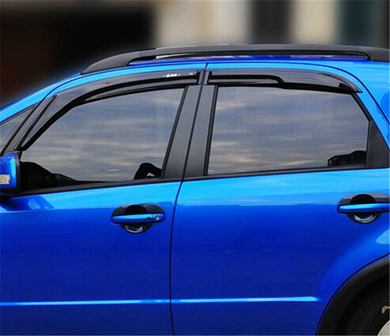4pcs/Set Window Visor Vent Shade Sun Rain Deflector Guard Shield For Suzuki SX4 2007 - 2012 Hatch & Sedan 2015 2017 car wind deflector awnings shelters for hilux vigo revo black window deflector guard rain shield fit for hilux revo