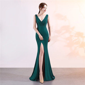 2020 Elegant Prom Dress Satin Evening dresses Long V Neck Sexy High Slits Corset High Quality Evening Wear Formal Party Gowns