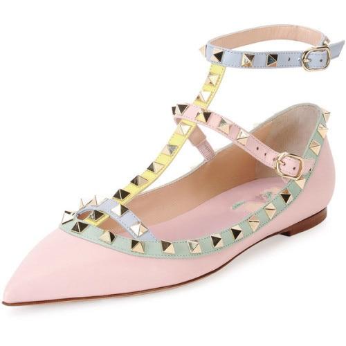 ФОТО Women shoes Fashion Flat shoes Women's Flat Heel Pointed Toe  Shoes with Rivet EU34-45
