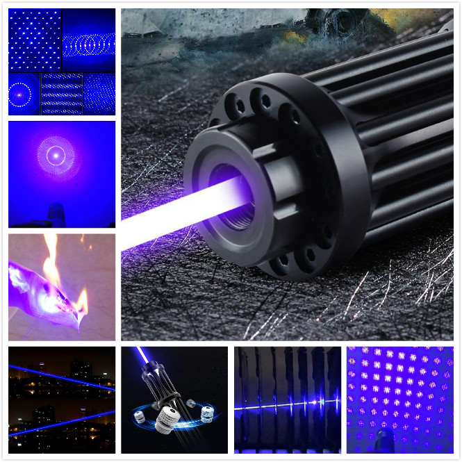 2019 NEW High Power Blue Laser 100000m 450nm Burning Laser Pointer 1w burn cigars plastic papers High power beam goggles newest hight quality 450nm blue light laser pointer pen power beam 5 heads with charger with goggles with box