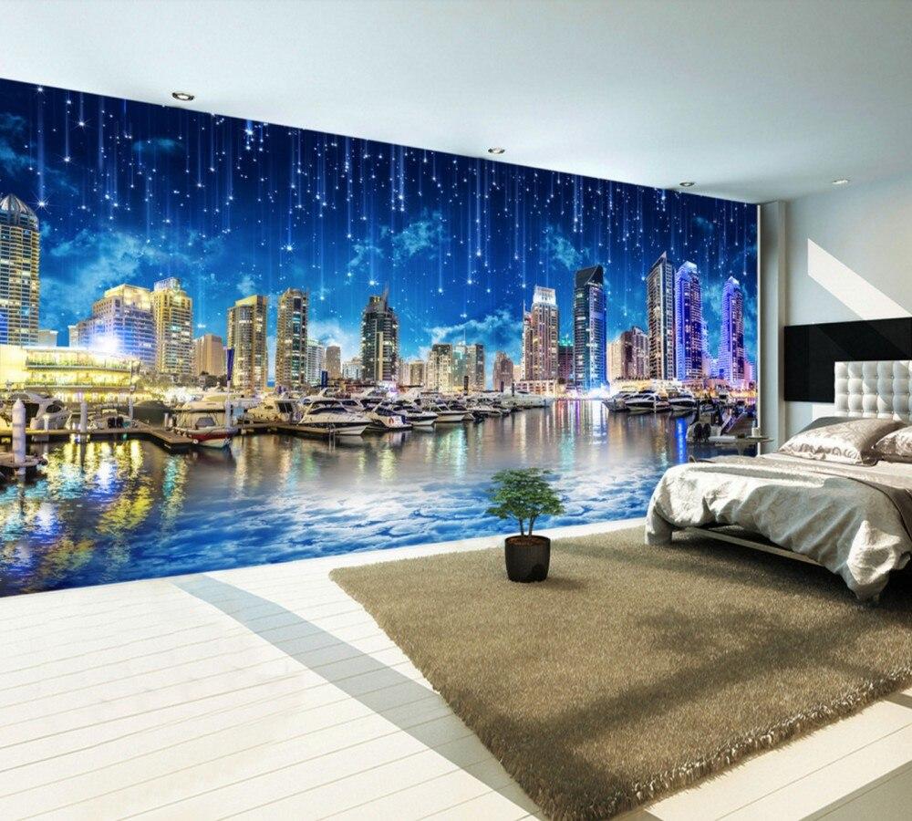 US $19 0 OFF Gratis Pengiriman Ultra HD Malam Kota Malam Kota Landscape Panorama TV Dinding Restaurant Kustom 3d Wallpaper Gedung Tinggi