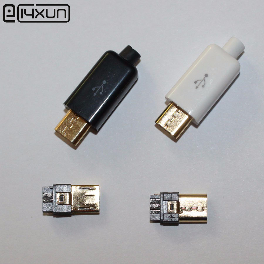 10set DIY Micro USB Type B Male <font><b>5</b></font> <font><b>pin</b></font> Four Piece Assembly Connector <font><b>Plug</b></font> <font><b>Socket</b></font> , 4 in 1 Black white color Parts Gold-plated USB image