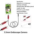 5.5mm Lens 2M USB Endoscope IP67 Waterproof Camera Andorid Endoscope 6 LED Mini Camera 2 In 1 Android Phone Endoscopio