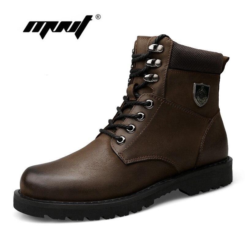 Automne Et Hiver Ajouter Fourrure Hommes Bottes Top Qualité Confortable Hommes Chaussures D'hiver En Cuir Naturel Imperméable Bottes de Neige