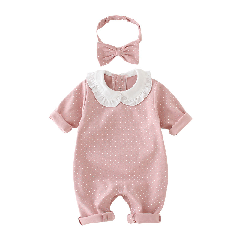 lovely baby clothing newborn   rompers   dot printing kids girl clothes long-sleeves Doll broughtjumpsuit + Bow hair band 2 pcs
