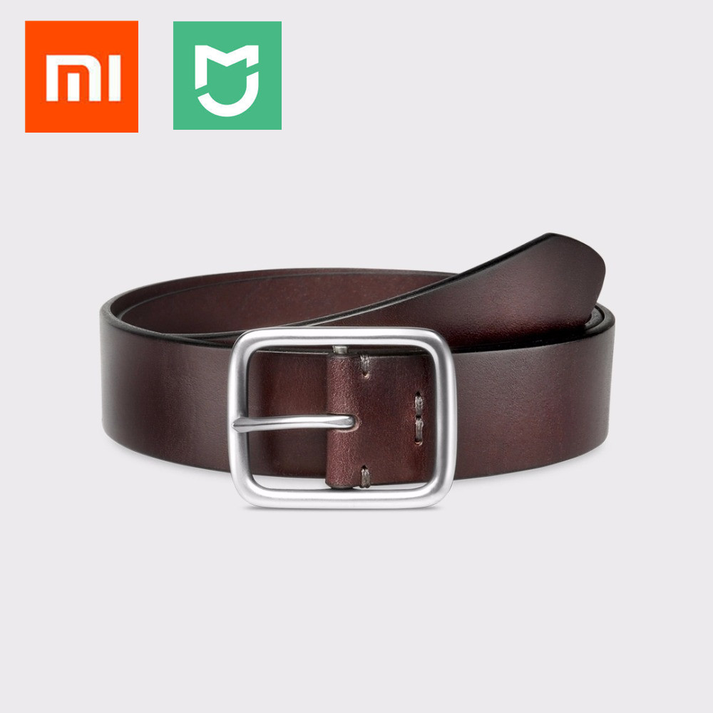 2020 New Xiaomi Mijia Qimian Leisure Cow Leather Belt Five Hole Two Color 38mm Width Man Alluminum Buckle For Xiaomi Smart Home