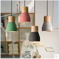 Vintage Mini Cement Wood Led Pendant Lights Country Macaroon Loft Deco Hanging Light Fixtures Restaurant Bedroom Pendant Lamp