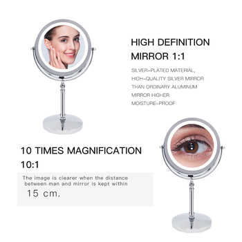10X Magnifying Makeup Mirror With LED Light Cosmetic Mirrors Round Shape Desktop Vanity Mirror Double Sided Backlit Mirrors 2
