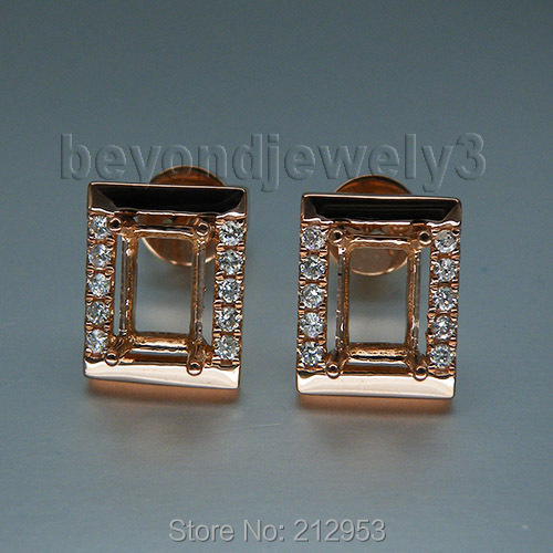 Natural Diamond Semi Mount Earrings Jewelry Emerald Cut 4x6mm Solid 18Kt Rose Gold WE053