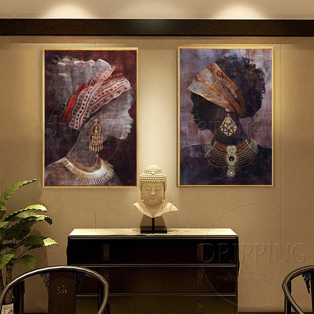 Favoloso Dipinta A mano Moderna Wall Art Donna Africana Dipinti di Figura  DF14