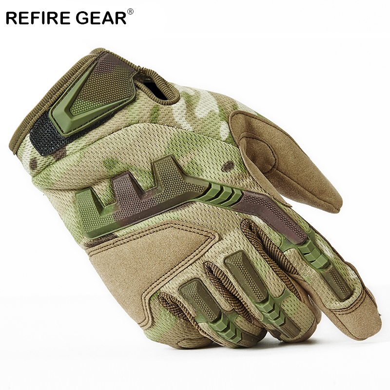 ReFire Gear Full Finger Camouflage Hiking Gloves Men Winter Thermal Outdoor Military Gloves Male US Army Soldiers Combat Gloves