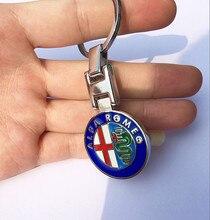 LOSFO ALFA ROMEO car logo Alloy Key Ring Emblem Keychain for Giulia Mito 4C 147 156 159 166 Giulietta Spider GTV Stelvio