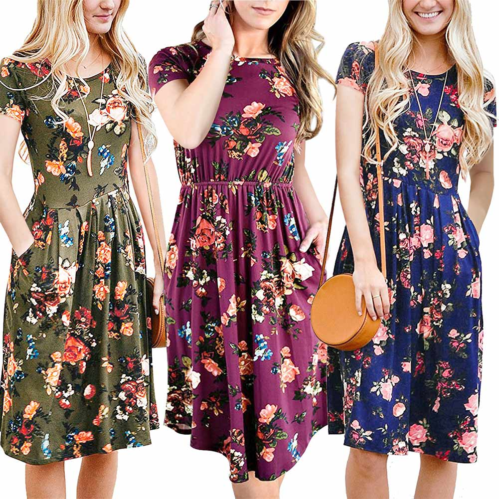 Summer Women Dress Short Sleeve Floral Printed Pockets Pleated Lady Casual Knee-Length Dresses H9