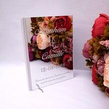 Etiqueta acrílica feita sob encomenda do convidado do livro da assinatura do casamento do branco do espelho do álbum personalizado