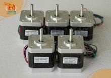 цена на 5pcs NEMA17, 4000g.cm CNC stepper motor stepping motor/1.7A wantai cnc motor 42BYGHW609 Super  in 3D Printer