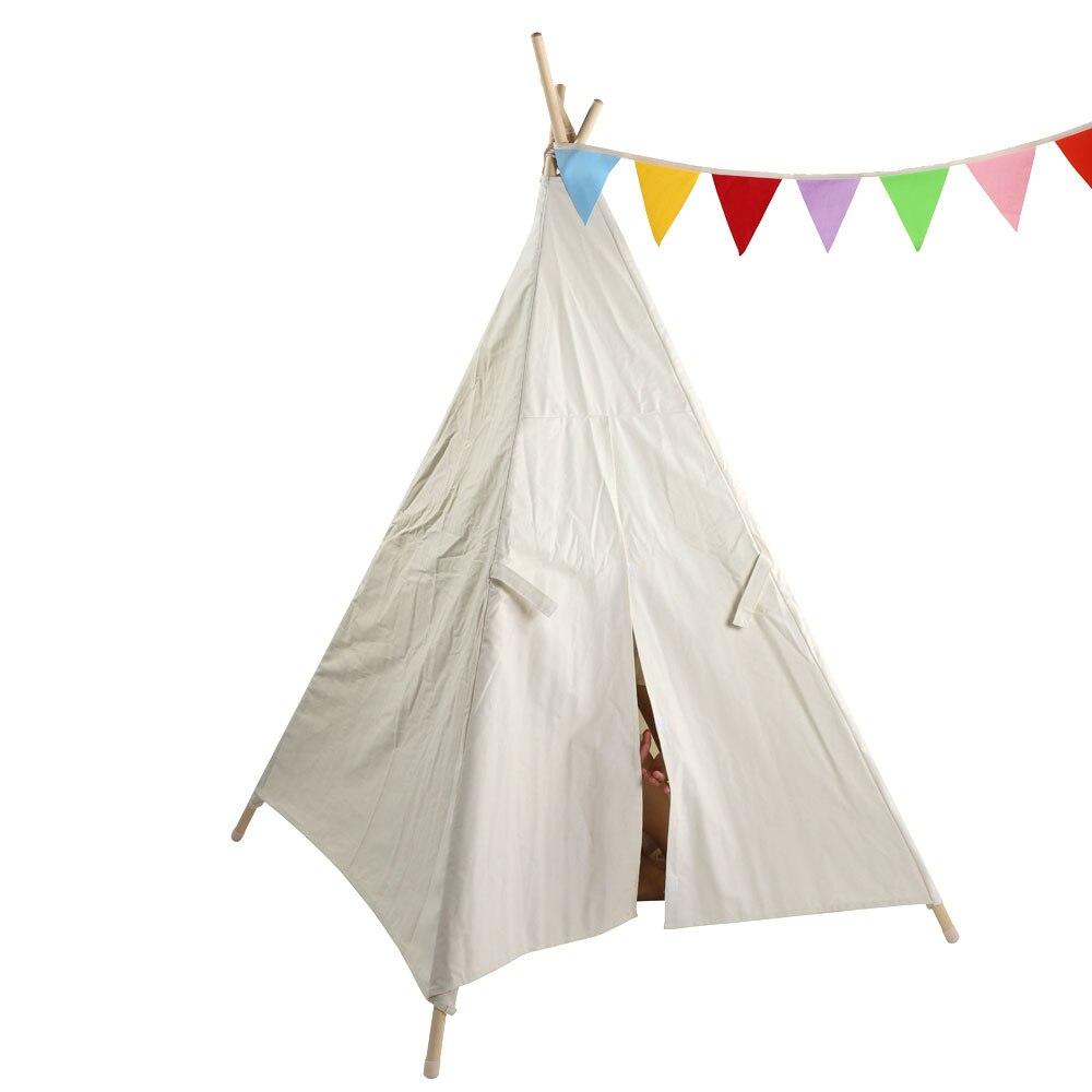 Tentes extérieures toile blanche Tipi Original enfants Tipi avec pompons blancs indien jouer tente maison enfants Tipi Tee Pee tente