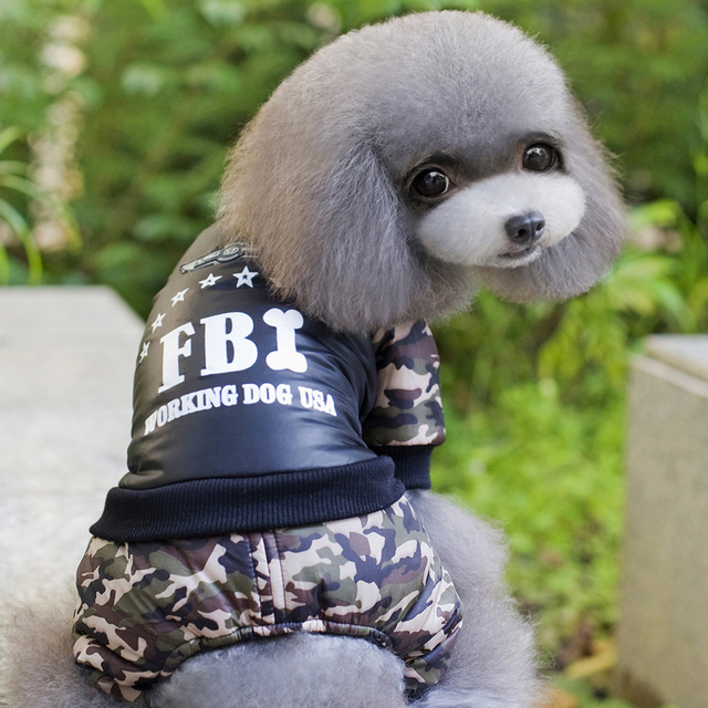 Cool FBI Pet Dog Clothes Overall Thickening Dog Puppy Jumpsuit Costume Warm Winter Clothing For Boy Dogs Ropa Para Perros