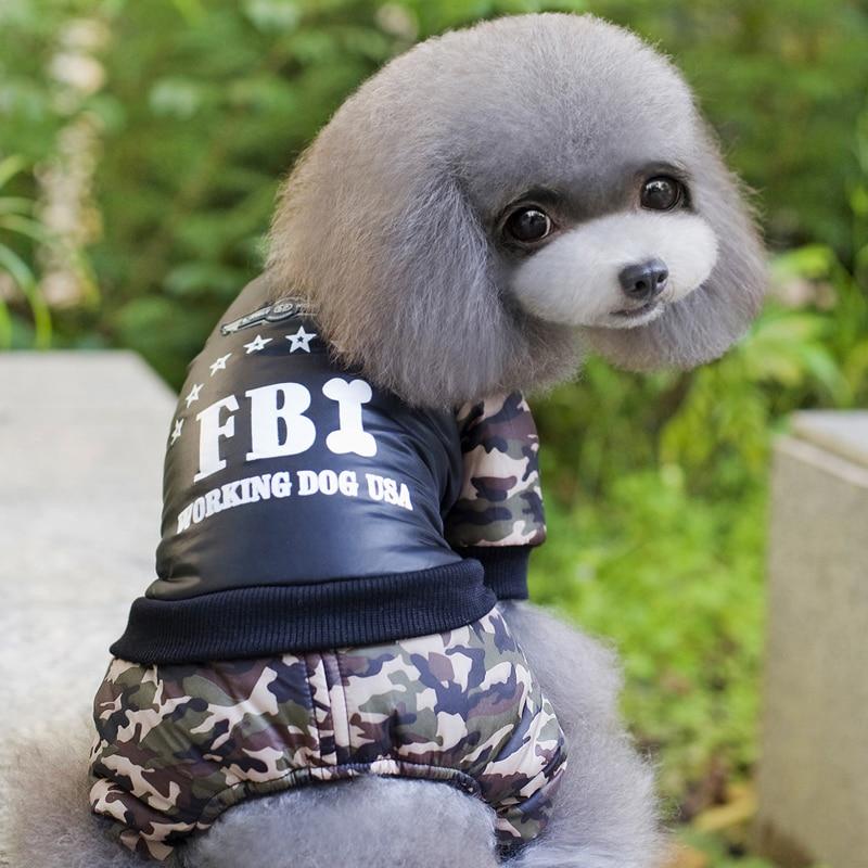 Cool FBI Pet Hunde Tøj Samlet Fortykkelse Hunde Puppy Jumpsuit - Pet produkter - Foto 4