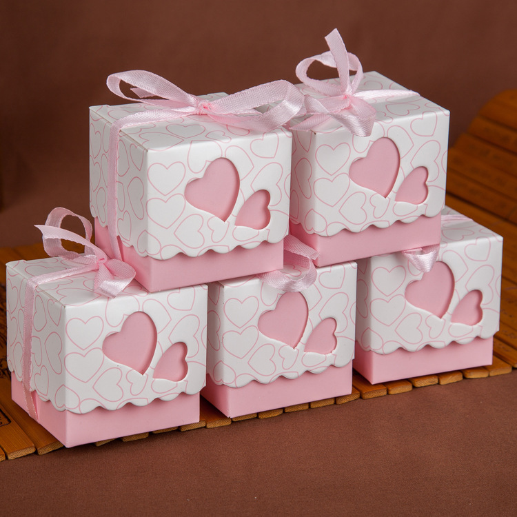 Newest Pink Double Heart Wedding Candy Box Wedding Party ...