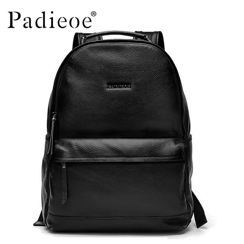 Padieoe New Designer Korean Style Male Backpack Luxury Brand Black Genuine Leather Backpack Fashion Solid Men Casual Daypacks все цены