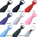 Free shipping 8cm slim Formal Zipper tie for men Wedding Party business neckties Strie Convenient Male Neck Tie black blue red