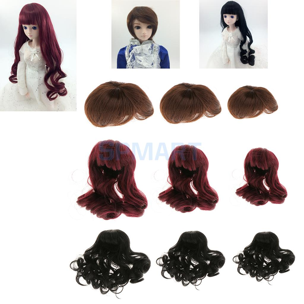 Fashion Short Hair/Long Curly Hair Wig Hairpiece for 1/3 1/4 1/6 BJD SD LUTS Dolls Making & Repair hot sale doll accessories new 1 3 22 23cm 1 4 18 18 5cm bjd sd dod luts dollfie doll orange black short handsome wig
