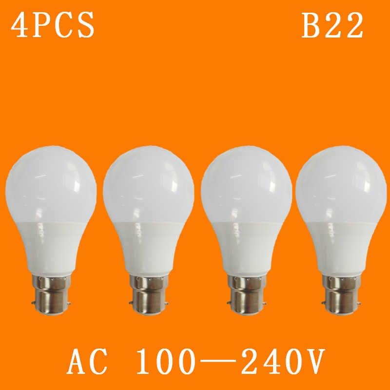 4 pçs/lote AC110V B22 Lâmpadas LED, 220 v, 240V Constante Tensão Atual de Casa Interior Lâmpada Frio/Warm White 3 w, 5 w, 7 w, 9 w, 12 w, 15 w, 18 w, 1,