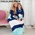 Новый зима весна мать дочь платья рождество longsleeve семьи сопоставления одежда хлопок мама и дочь платье наряды