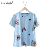 Lanbaiyijia новые Вышивка цветы Для женщин футболка с круглым вырезом короткий рукав летние футболки пуловер рубашка Для женщин футболка