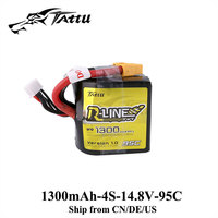 Tattu R Line Lipo Battery 14.8V 1300mAH Lipo 4S 95C Battery XT60 Plug Battery for FPV Drone Racing Helicopter Airplane