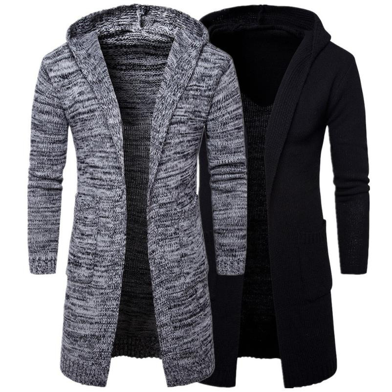 2017 New Arrival Mens Slim Fit Hooded knit Sweater Fashion Cardigan Long   Trench   Coat Jacket