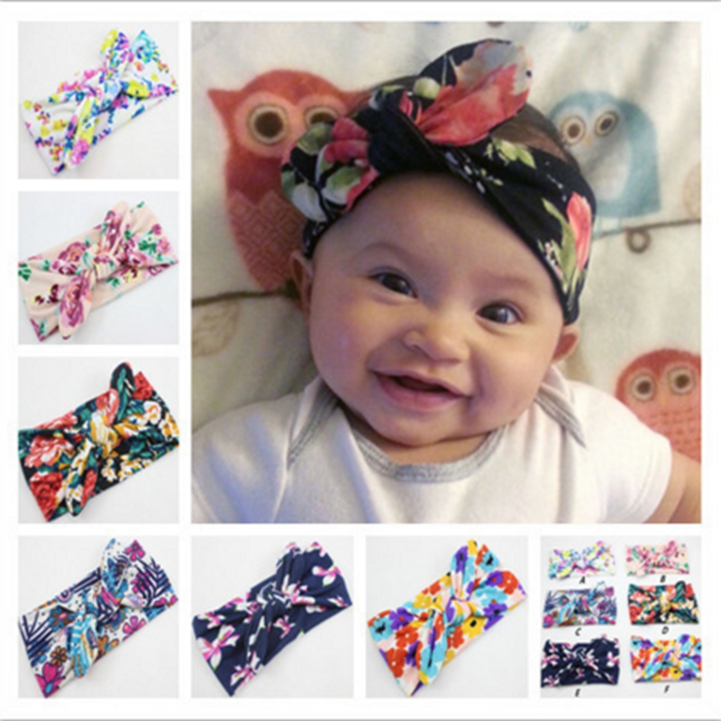Baby Headband Cute Kids Photography Props Cotton Hairband Infant Print Cross Hair Bows Baby Girl Bohemian Fashion Hair Ornaments
