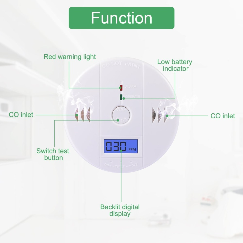 NEW CO Gas Sensor Detector Carbon Monoxide Poisoning Alarm Detector LCD Photoelectric Independent High Sensitive 120dB Warning