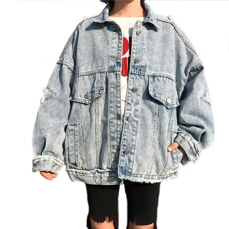 2018 Loosen Basic пальто модное женское пальто бомба большой карман Свободная куртка Женское пальто оверсайз Harajuku ВИНТАЖНАЯ ДЖИНСОВАЯ КУРТКА