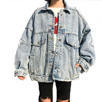 2018 Loosen Basic Coat Fashion female bomb Coat Big Pocket Loose Jacket Women Oversize Coat Harajuku Vintage Demin Jacket