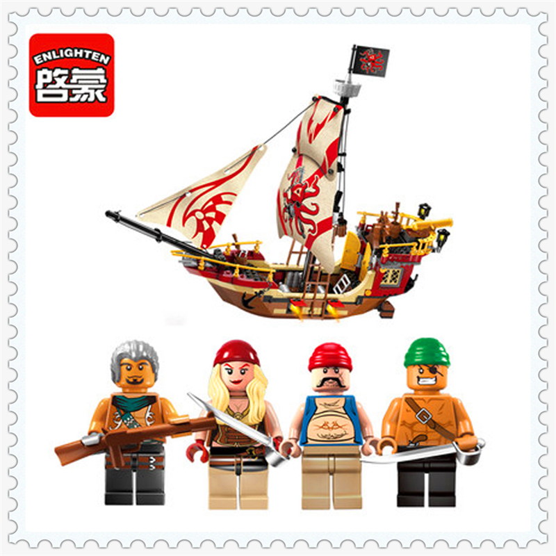 ENLIGHTEN 1311 Pirates Ship Marauder Model Building Block 368Pcs DIY Educational  Toys For Children Compatible Legoe 0367 sluban 678pcs city series international airport model building blocks enlighten figure toys for children compatible legoe