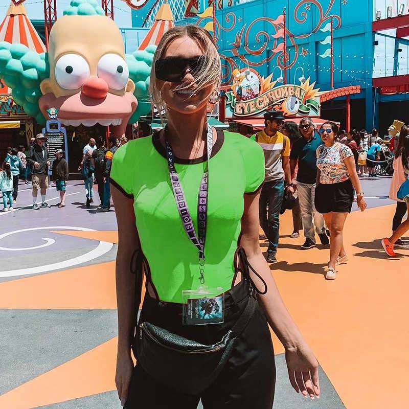 Darlingaga Мода 2019 Лето неоновое боди Женский боди с коротким рукавом сексуальный комбинезон с высоким вырезом Tie up Neon Green Боди Одежда