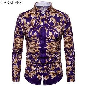 Image 1 - Moda Altın Çiçek Baskılı Gömlek Erkekler 2018 Lüks Marka Erkek Slim Fit uzun kollu elbise Gömlek Barok Tarzı Chemise Homme Xxl