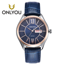 ONLYOU Womans Watch Fashion Leisure Leather Stainless Steel Clasp Mens Watches Top Brand Luxury With Date Wrist Watch Wholesales