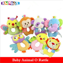 Rattles Kids Toys 6 Style Chidren s baby rattle toys Animal Plush Toys Baby Hanging Stroller