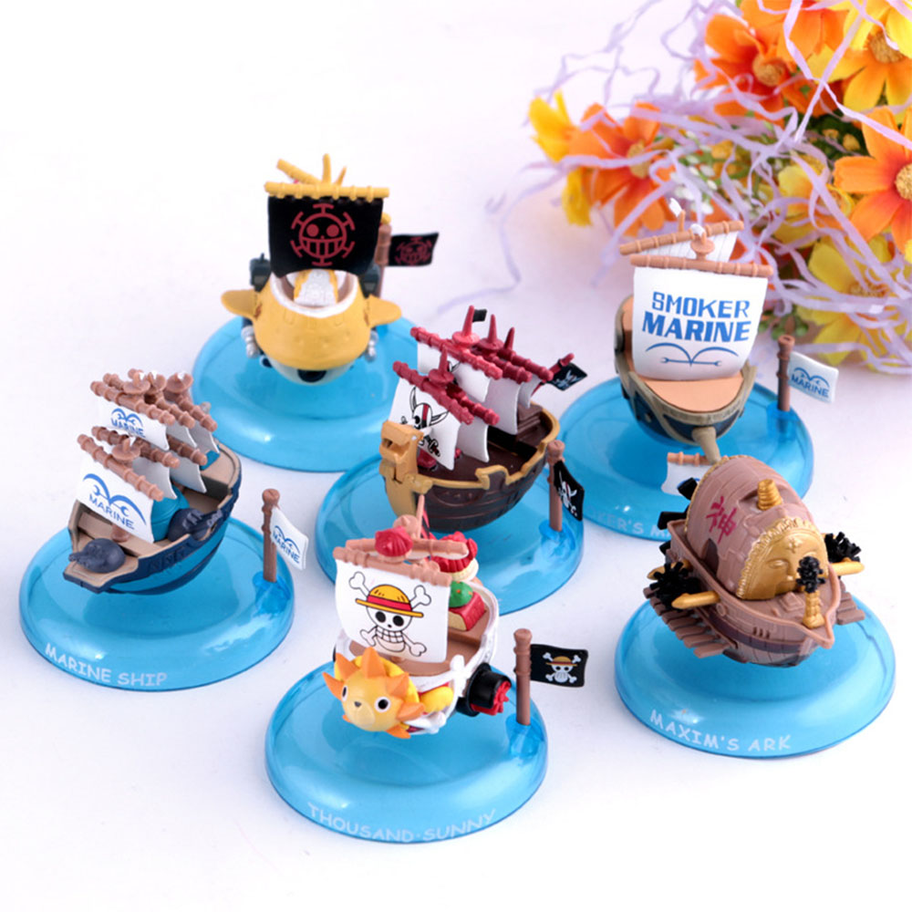 все цены на  6PCS Anime One Piece Sunny Going Merry Pirate Ship Pirate Boat PVC Action Figure Brinquedos Figuras Collectible Kids Toys  онлайн