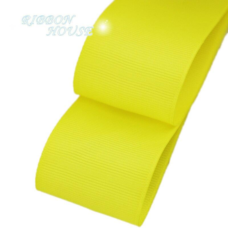 (5 м/лот) 40 мм желтый Grosgrain ленты Подарочная упаковка оптом Рождество украшение ленты